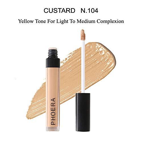 Phoera Corrector líquido para maquillaje, cobertura completa, 10 colores, vegano
