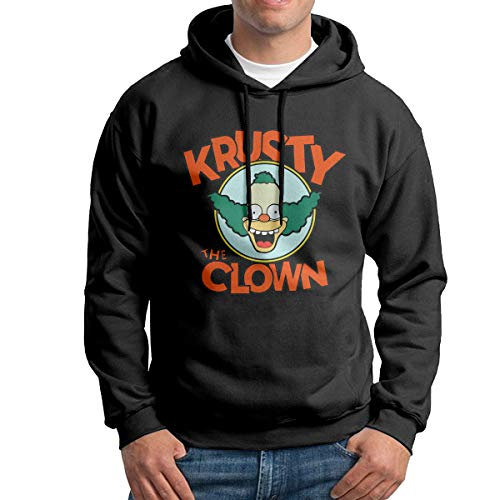 LawrenceCGresham The Simpsons Krusty The Clown Unisex Casual Pullover Hooded Sweatshirt Teens Long Sleeve Sweatshirt Hoodies for Men Women Black,XX-Large