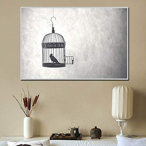 N / A Impresión en Lienzo Decoración Imagen de connotación de Jaula de pájaros Abierta y pájaros Pintura en LienzoImagen de Arte de Pared HD para Sala de Estar Póster de Arte