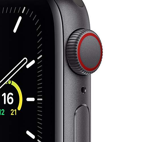 2020 AppleWatch SE (GPS+ Cellular, 40mm) Aluminiumgehäuse Space Grau, Sportarmband Schwarz