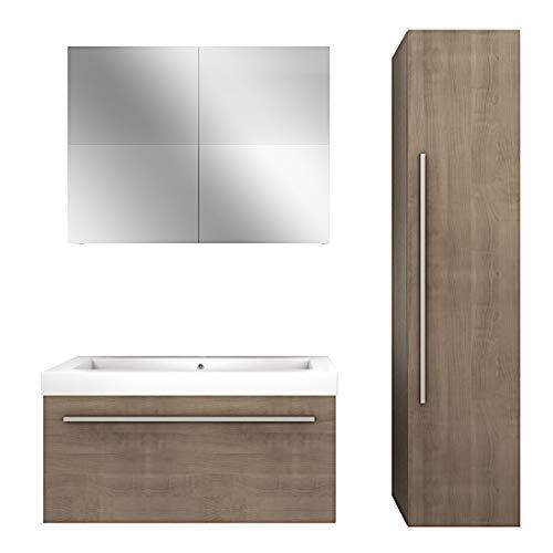 Badmöbel Set City 100 V4 Eiche hell, Badezimmermöbel, Waschtisch 100cm, Beleuchtung Spiegelschrank:NEIN ohne LED-Beleuchtung