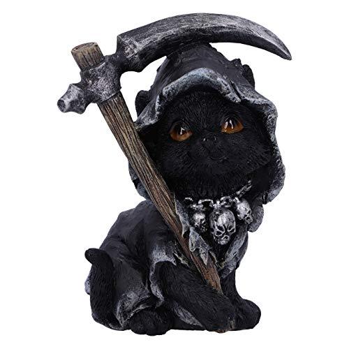 Nemesis Now Amara Sensenmann Fline Cat Figur, schwarz, 10,2 cm