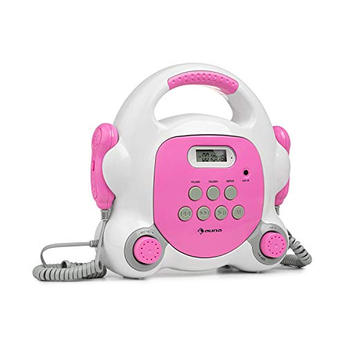 AUNA Pocket Rocker BT Karaoke-Player, Bluetooth, Sing-A-Long mit 2 x Handmikrofon, USB-Port, LCD-Display, MP3-Wiedergabe, AUX-Anschluss, praktischer Tragegriff, Strom- und Batteriebetrieb, pink