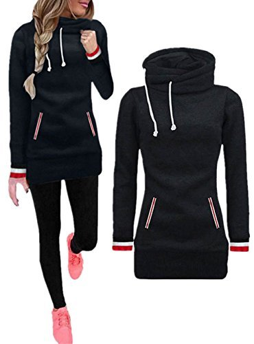 Women's High Neck Collar Fleece Pullover Long Hoodies Sweatshirts Dress Sweater Coat with Pockets, Black, Small