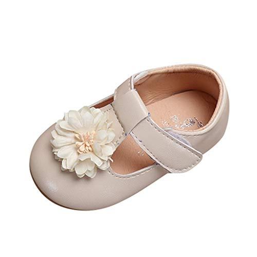 Ansenesna Sandalen Baby Mädchen Rosa Leder Flach Elegant Princess Schuhe Mädchen Blumen mit Klettverschluss Für Hochzeit Festlich