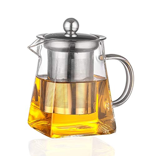SUPANG Good Glass Teapot with Removable Stainless Steel Lid & Infuser, Square shape Glass Teapot,Stovetop Safe Tea Kettle, Blooming and Loose Leaf Tea Maker Set. (750ml)