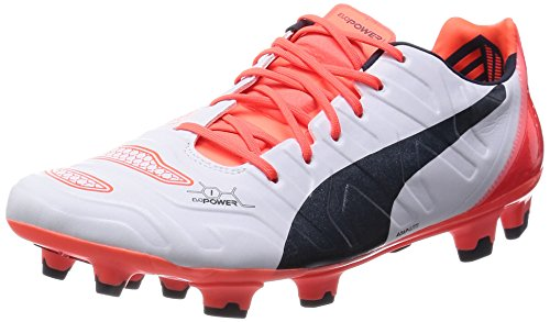 Puma Evopower 1 H2H FG 'Head To Head' Fussballschuhe Tricks Graphic Kollektion, Blanco / Negro / Naranja, 40 EU