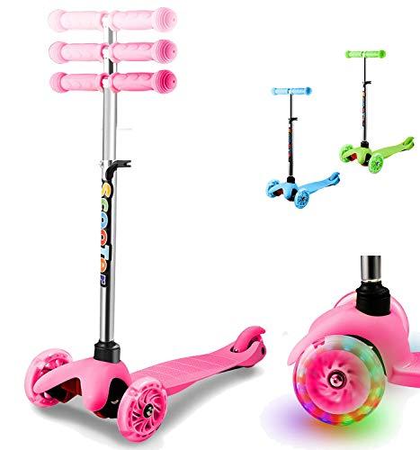 Patinete de 3 Tres Ruedas Scooter con LED Luces ,Patinete Niños con Manillar Ajustable en Altura para Niñas Niños de 2 a 8 Años, Monopatin Tres Ruedas 50 KG