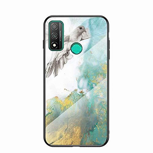Miagon Verre Coque pour Huawei P Smart 2020,Marbre Séries 9H Revêtement Arrière en Verre Trempé Protection Cover avec Silicone Souple Cadre pour Huawei P Smart 2020,Pigeon
