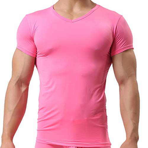 Herren T-Shirt Tights Slim Fit leicht Transparentes Arm Hemd (EU Small/with Tag M, Rosa)