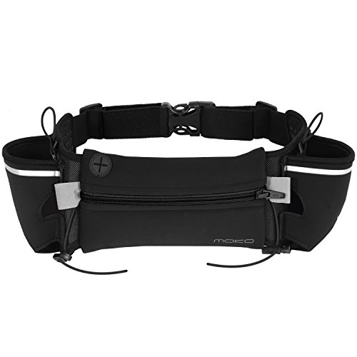 MoKo Running Waist Belt with Water Bottle Holder Hydration for Runner for Galaxy Note 8/S9+/S9/S8/S8+/S7, iPhone 11/X/8 Plus/8/7 Plus/6s, Pixel XL, Moto Z Droid - Black