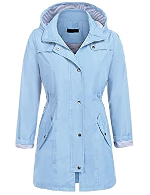 UNibelle Rain Jacket for Women Waterproof with Hood Lightweight Raincoat Outdoor Windbreaker (Lake Blue, XL)
