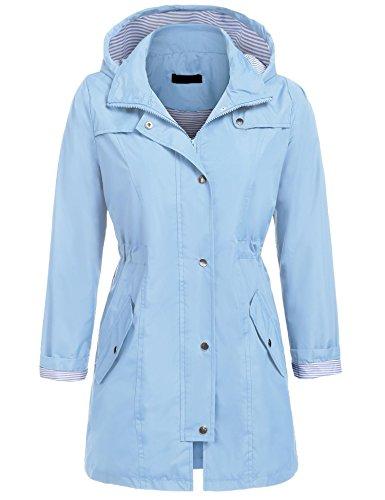 UNibelle Rain Jacket for Women Waterproof with Hood Lightweight Raincoat Outdoor Windbreaker (Lake Blue, XL)