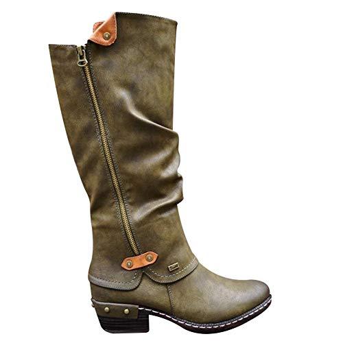 Feeilty Cowboy laarzen hoge vrouwen, vrouwen Dame-Western Cowboy-laarzen Punk laarzen Low-Sterke hiel Side Zippper Booties New
