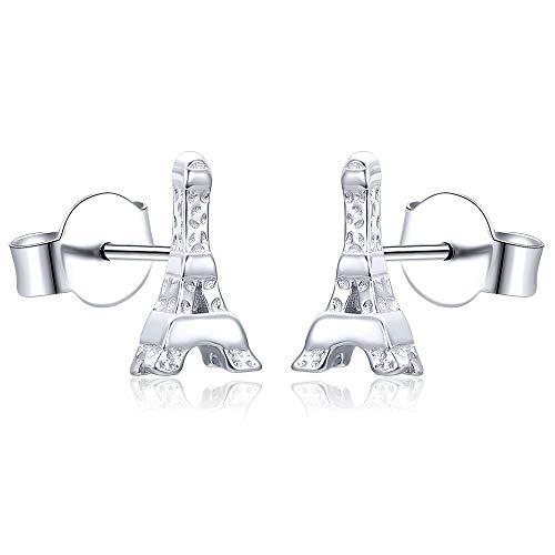 AoedeJ Pendientes hipoalergénicos de la Torre Eiffel de París, pendientes pequeños de plata de ley 925, regalo para mujer (Estilo 1)