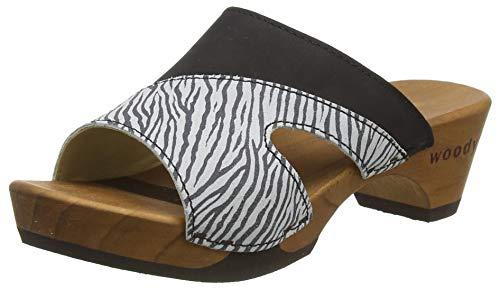 Woody Damen Fiona Pantoletten, Mehrfarbig (Zebra 095), 39 EU