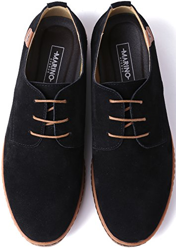 Marino Suede Oxford Dress Shoes for Men – Business Casual Shoes (Black, 10)