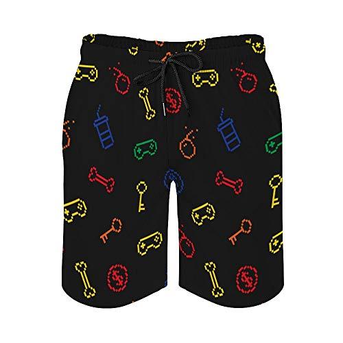 MayBlosom Pantalones cortos de playa para hombre, inspirados en juegos de Oldschool de secado rápido, trajes de baño casuales hawaianos para fiestas de día festivo con elástico