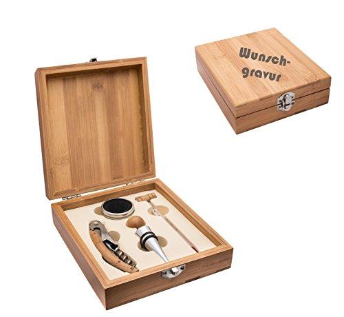 Schmalz Weinset Bambus 4-teilig Kellnermesser inkl.Wunschgravur Gravur graviert, Weinset Thermometer, Flaschenverschluss, Tropfring (mit Gravur)