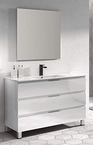 Juego de Mueble de Baño Modelo Austria Porcelana, Conjunto formado por Mueble de Baño Lacado en Blanco Ancho 100cm, Lavabo de Porcelana y Espejo a Juego