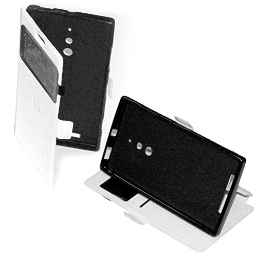 CUSTODIA IN ECO PELLE bianca con cover in silicone PROTEZIONE FLIP CASE ULTRA SLIM per Nokia Lumia 830