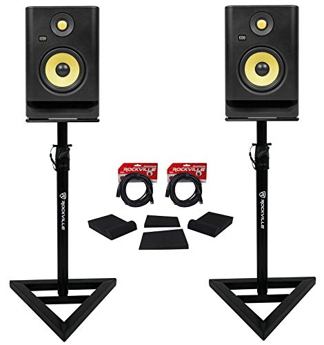 """(2) KRK RP5-G4 Rokit Powered 5"""" Powered Studio Monitors+Stands+Isolation Pads"""