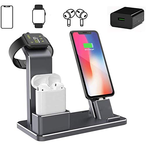 Xflelectronic Soporte de Carga, estación de Carga de aleación de Aluminio 3 en 1 para Airpods / 2/1 / Pro/Apple Watch 6/5/4/3/2/1 iPhone 12/12 Pro MAX / 11 Pro MAX/X/X