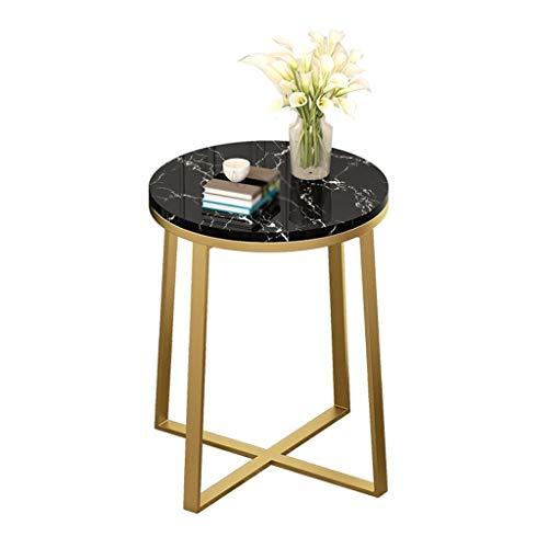 Living Room Furniture - C-Bin1 - Mesita de noche de una sola capa, soporte de metal con patrón de mármol, sofá, mesa, apartamento, balcón, soporte decorativo de flores (color: D, tamaño: 40 x 60 cm)