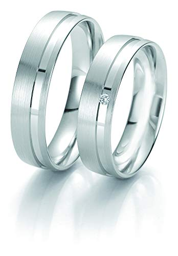 Alianzas de boda Rainbow Collection 6223/6224 en oro 585 blanco de 14 quilates