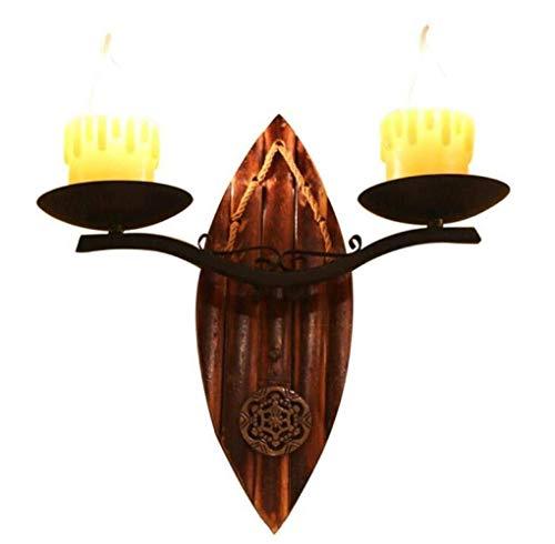 ETH Lampe Murale Bougies Créatives Bras De Lumière Style Rustique Bougeoir Lampe De Mur Vintage 2 Bras en Métal De Piédestal en Bois Flammig, Noir, A