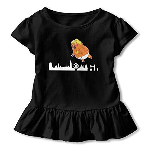 Baby Trump Balloon Flying Over Londen Kids Short Shirt met Mix van Ruffle Fashion T-shirt