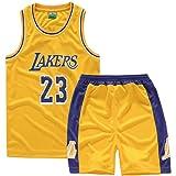 Camisetas De Baloncesto Para NiñOs, Lakers Lebron James # 23 Conjunto De Camisetas De Baloncesto Chaleco De Malla Y Pantalones Cortos De Verano Para NiñOs Y NiñAs Ropa Deportiva(3XS-2XL)