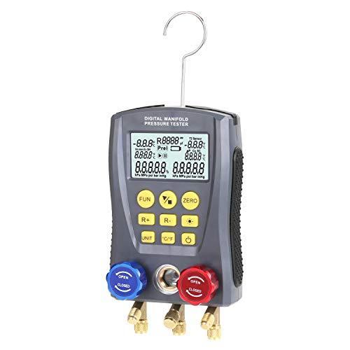 Kecheer Manometro digitale refrigerazione HVAC,Vacuometro digitale condizionamento,Collettore di refrigerazione