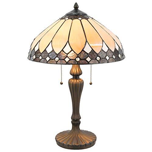 Lumilamp 5LL-5184 Tischleuchte Tischlampe Tiffany Stil Art Deco Natur/Braun Ø 41 * 60 cm / E27 / Max. 2x60 Watt handgefertigt Glasschirm dekoratives Buntglas Retro Antik Stil
