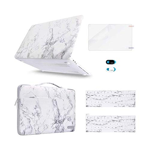 MOSISO Compatible with MacBook Pro 13 inch Case 2016-2020 A2338 M1 A2289 A2251 A2159 A1989 A1706 A1708, Plastic Hard Shell&Sleeve Bag &Keyboard Skin &Webcam Cover &Screen Protector, White Marble