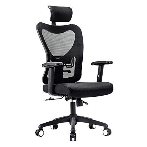 JIEER-C vrijetijdsstoelen bureaustoel ergonomische netdraaistoel zithoogte verstelbaar lendensteun wervelkolom bescherming duurzaam sterk zwart