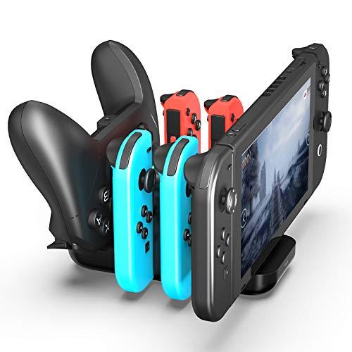Cargador para Nintendo Switch, Estación de Carga Joy Con Cargador Mandos Base de Carga para Accesorios Nintendo Switch Consola, 4 en 1 Cargadores para Joycon , indicador LED Puerto USB Tipo C