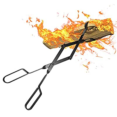 """Amagabeli Fire Tongs 26"""" Long Heavy Duty Fireplace Log Tongs Indoor Fire Tools Log Grabber Wrought Iron Fire Pits Accessories for Outdoor Stove Long Logs Tweezers Firewood Tongs Campfire Tongs"""