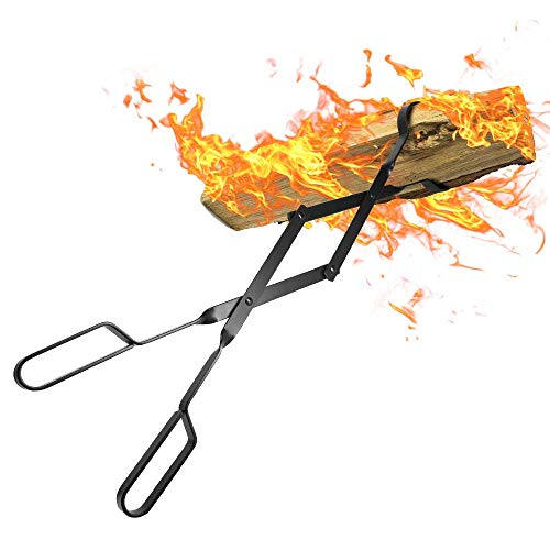 "Amagabeli Fire Tongs 26"" Long Heavy Duty Fireplace Log Tongs Indoor Fire Tools Log Grabber Wrought Iron Fire Pits Accessories for Outdoor Stove Long Logs Tweezers Firewood Tongs Campfire Tongs"