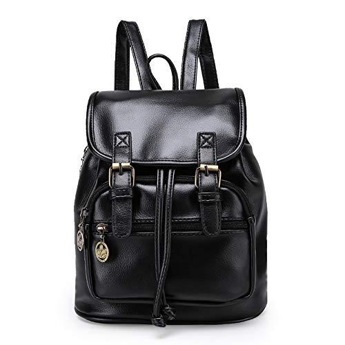 TIBES Rucksäcke für damen Wasserdichter rucksack Schulranzen Satchel bag Studententasche Daypack damen Schultertasche Umhängetasche Tasche A Schwarz(Groß)