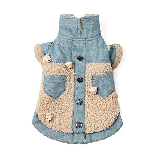 QKEMM Cappotto Invernale per Cani Bottoni a Due Piedi Pet Classico Outwear Giacca per Yorkshire Terrier Carlin Blu L