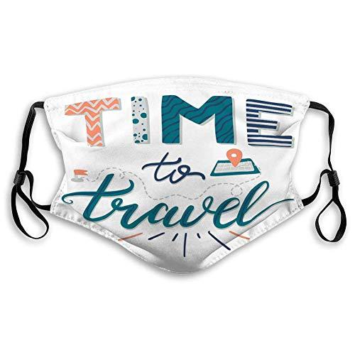 Mundgesicht für Kinder Teenager Männer Frauen Zitat Hand gezeichnete Schriftzug Zeit zu Reisen Phrase Inspirational Banner Poster
