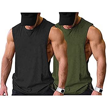 COOFANDY Mens Athletic Shirts Gym Workout Sleeveless BodybuildingTank Top 2 Pack