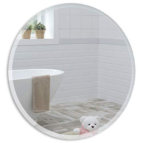 Neue Design Schöner runder Badezimmerspiegel, modern und stylish, mit abgerundeten Kanten, Wandbefestigung, Badspiegel, Wandspiegel, Spiegel 40cm x 40cm