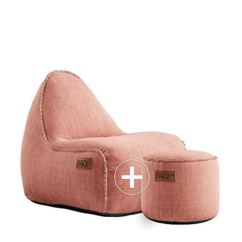 SACKit - RETROit Cobana Junior Rose - Rosa Indoor/Outdoor Sitzsack mit Hocker für Kinder. Sessel mit Lehne. Für das Kinderzimmer oder Gaming im Jugendzimmer