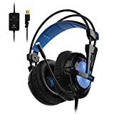 SADES Locust Plus 7.1 Virtual Surround Sound, USB Gaming Headset mit Mikrofon für PC, Over-Ear-Kopfhörer, farbige RGB-Beleuchtung, Rauschunterdrückung & Lautstärkeregler, geeignet für Laptop