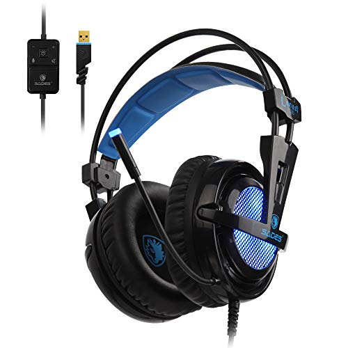SADES Locust Plus 7.1 Virtual Surround Sound, USB Gaming Headset mit Mikrofon für PC, Over-Ear-Kopfhörer, Rauschunterdrückung & Lautstärkeregler, farbige RGB-Beleuchtung, geeignet für Laptop