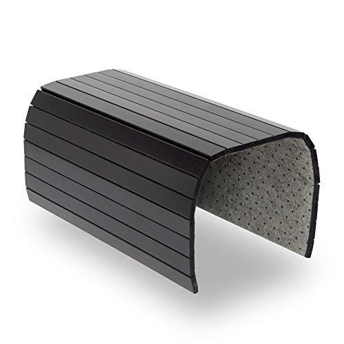 BAM BOO BOX Sofatablett - Sofalehnen Ablage aus Bambus - Armlehnen Tablett aus Holz - Sofaablage in Schwarz