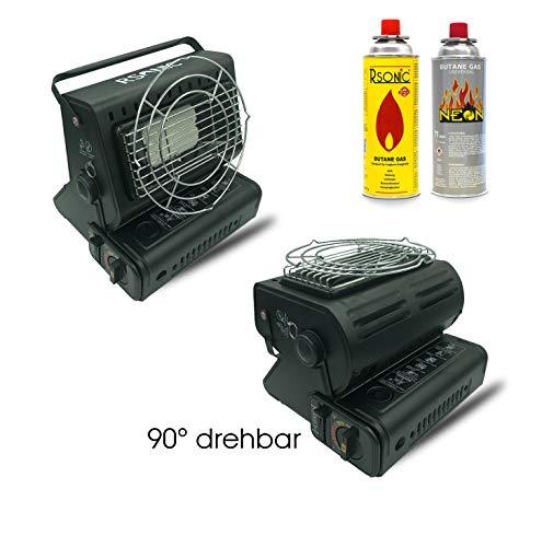 RSonic 90° drehbar tragbare Gasheizung | Keramik-Brenner, 1.3KW | Gasstrahler Heizung | Outdoor, Camping, Angeln Mini Heizer| (Gasheizung + 4 Stück Gaskartusche)