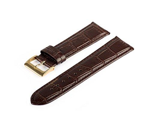 Uhrenarmband Braun 14 mm Uhrband Uhrenbänder Uhren Band Gold Schließe Krokoprägung